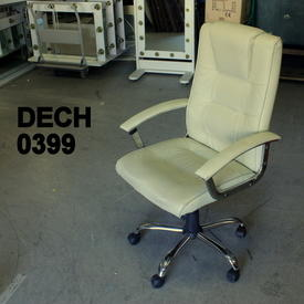 Cream Leather Swivel Desk Armchair on Castors, Chrome Feet