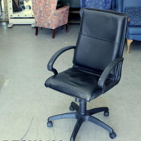 Black Vinyl Swivel Desk Armchair on Castors