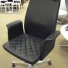 Black Leather High Back Potrona Frau Wing Side Chair