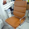 Dark Tan  Leather And Chrome High Back Softpad Chair