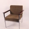 Brown Fabric Seat/Back Chrome Leg Black Arm Rest Elbow Chair