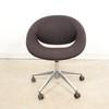 Flos Black Fabric Chrome Base Swivel Tub Chair