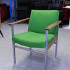 Green Fabric Seat Chrome Frame Wooden Arm Visitor Chair