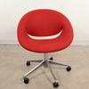 Flos Red Fabric Chrome Base Swivel Tub Chair