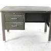 4' Grey Metal Single Pedestal Desk
