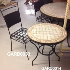 Berber 2' Dia. W/Iron & Mosaic Tile Occ.Table