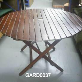 Teak Slatted Circ/Sq Folding Garden Table  (50S)