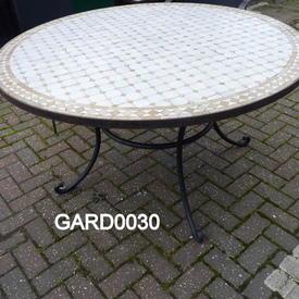 Berber  4' Circ  Mosaic/Wrought Iron Dining Table