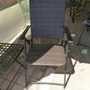 Dark Woven Rattan & Black Metal Frame Garden Elbow Chair
