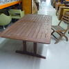 Stained Rect Slatted Garden Table