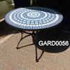 3' Circ  Blue Mosaic/Wrought Iron Garden Table