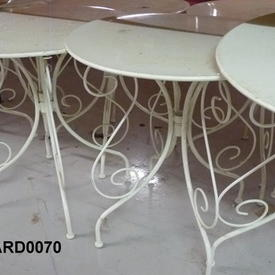 Circular Scrolled White Metal Perforated  Garden  Table