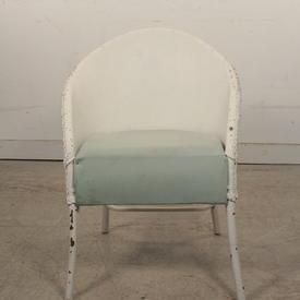 White Woven Wicker Armchair