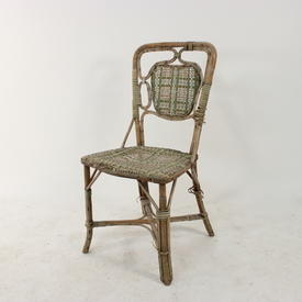 Woven Green Patt Wicker Occ/Carver Chair with inset  Pattern