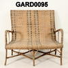 Green Woven Wicker Small Sofa With Inset Coloured Pattern