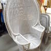 White Wicker Oversized Peacock Chair