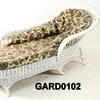 White Woven Wicker Chaise Lounge With Seat Pad