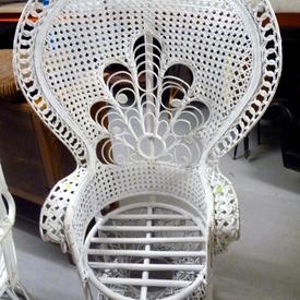 Painted Wicker & Bamboo Seat Peacock Chair
