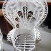 White Wicker & Bamboo Seat Peacock Chair