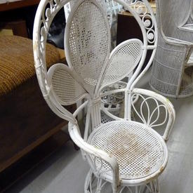 White Bamboo & Wicker Swivel Seat Peacock Chair