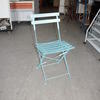 Baby Blue Slatted Metal Folding Chair