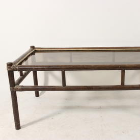 Rect Brown/Glass( Scaffolding-Style)Bamboo C/Table