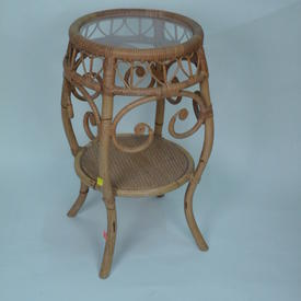 Circ Ornate Bamboo & Wicker Perspex Top 2 Tier Occ Table
