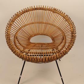 Circular 60'S Woven Bamboo Seat Black Metal Leg Easy Chair