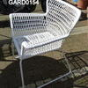 White Woven Plastic Skid Base Fan Side Elbow Chair