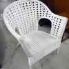 White Wicker/Rattan Side Hole Elbow Wide Easy Chair
