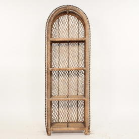130Cm X 46Cm Lattice Woven Wicker Low 4 Tier Dome Open Shelf