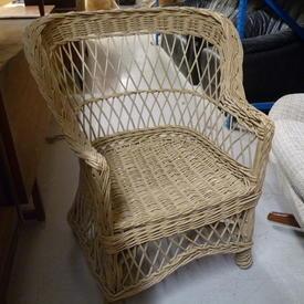 Woven Cane Diamond Pattern Back Armchair