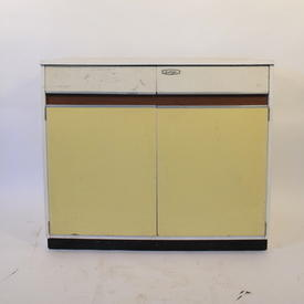 50'S 3' 2  Drawer  2 Door White/Yellow Formica Kitchen Base Unit