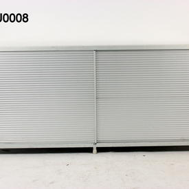 """Ribbed Ali 'Ycami' 2' 9"""" X 6' 3"""" Long Sliding Door Sideboard  with White Glass Top"""