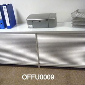 """Ribbed Ali 'Ycami' 2' 2"""" X 6' 3"""" Sliding Door Sideboard with  White Glass Top"""