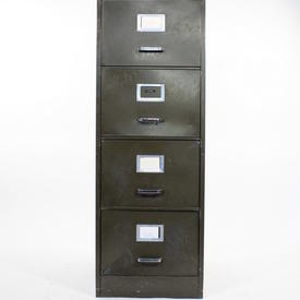 Green Metal Chrome Handle Howden 4 Drawer Filing Cabinet