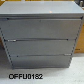 Grey Metal Wide Lateral 3 Drawer Filing Cabinet