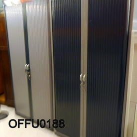 6' Assd Grey Metal Tall Tambour 2 Door Cupboard