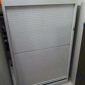 Light Grey Metal 5'  Medium Tambour Door Cupboard