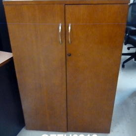 Mid Cherry & Charcoal Kos Executive 4' Tall  2 Door Cupboard