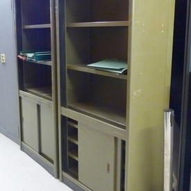 Olive Green Metal 6' Acior Period 2 Door Open Top Cabinet