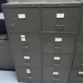 Olive Metal 4 Drawer Acior Period Filing Cabinet