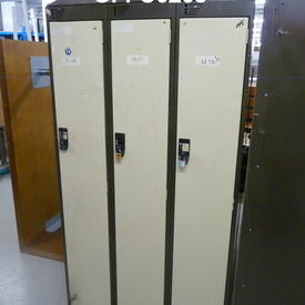 Brown & Cream Metal Bank Of 3 Door  Lockers