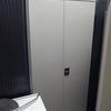 Light Grey Metal Chrome Twist Handle Tall 2 Door  Silverline Cupboard