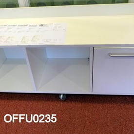 160Cm Grey Metal Sliding Door Low Sideboard/Pale Grey Top