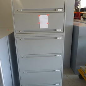 Grey Metal 6 Drawer Wide Lateral Mkb File Cabinets