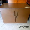 Low Brown Formica 2 Door Metal Handle Cupboard