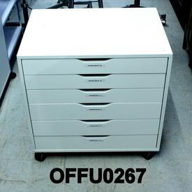 White 6 Drawer Multi  Drawer, Low Wide  Pedestal Size