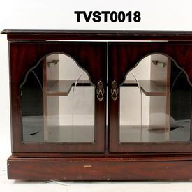 80's 2 Glazed Door Polished Mahogany Corner Tv Cabinet