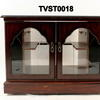 80's 2 Glazed Door Polished Mahogany Corner Tv Cabinet